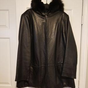 Anne Klien Hooded Lamb Skin Coat